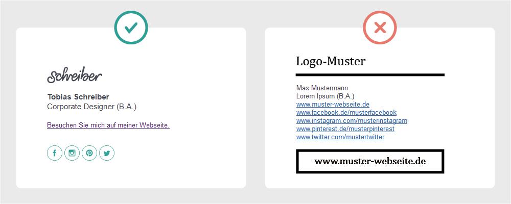 Contenbild - Die perfekte E-Mail Signatur Vergleich positives und negatives Beispiel