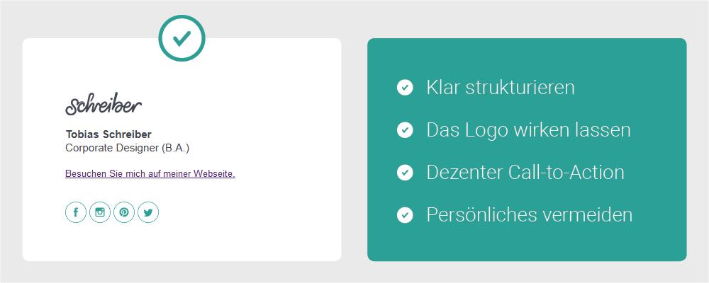 Contenbild - Die perfekte E-Mail Signatur - Checkliste: Klar strukturieren, Das Logo wirken lassen, Dezenter Call-to-Action, Persönliches vermeiden