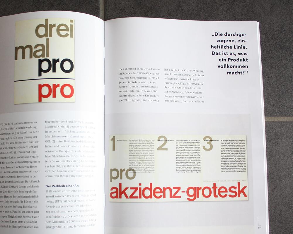 Corporate Design Portfolio - Schreiber Tobias - Schrift der 80er Jahre, Magazingestaltung Akzidenz Grotesk, Otl Aicher
