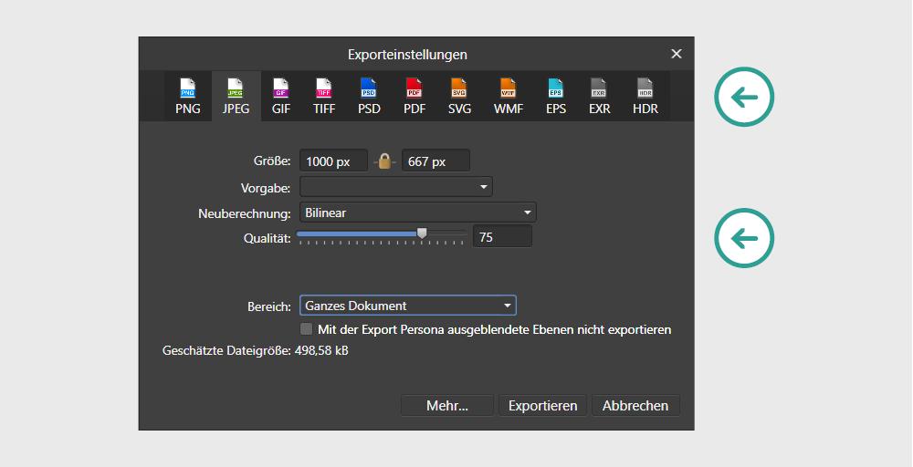 Contentbild - Exporteinstellungen in der Software Affinity Photo für die Stapelverarbeitung, JPEG Qualität:75%, Bereich: Ganzes Dokument
