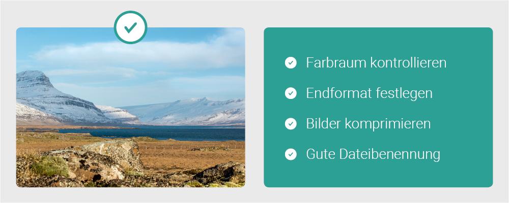 Contentbild - Checkliste bei Bilder für das Web & Wordpress: Farbraum kontrollieren, Endformat festlegen, Bilder komprimieren, Gute Dateibenennung festlegen