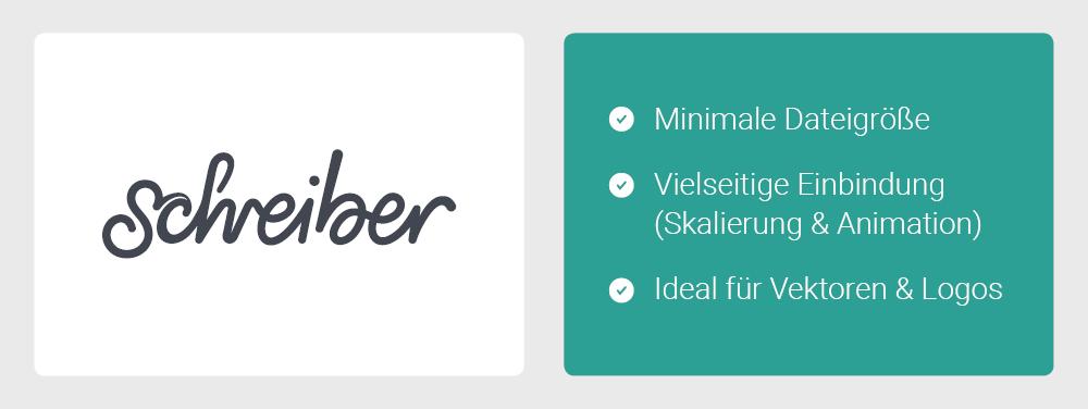 Contentbild - Auflistung der Vorteile von SVG-Dateien: Minimale Dateigröße, Vielseitige Einbindung (Skalierung & Animation), Ideal für Vektoren & Logos